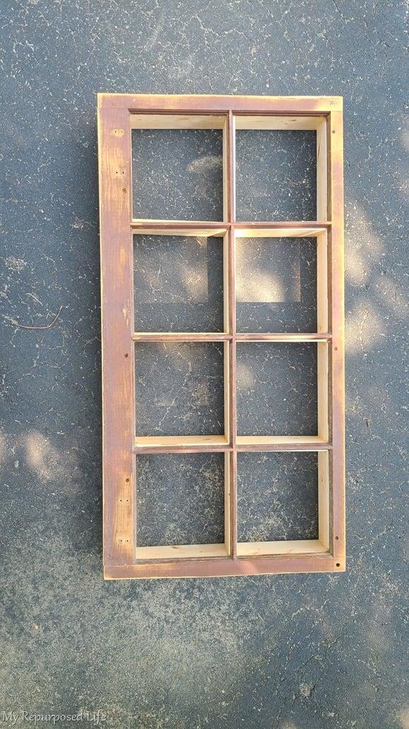 rough draft of shadow box repurposed window