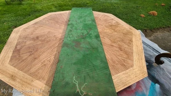 before and after octagon dining table makeover