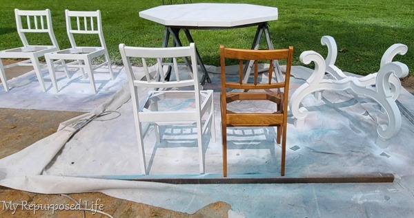 octagon dining table makeover with paint