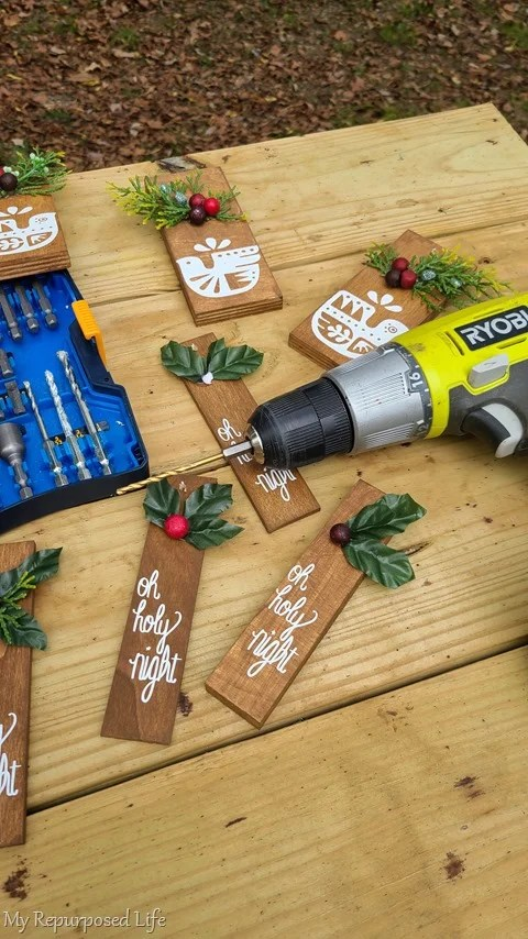 drill holes for scrap wood ornaments