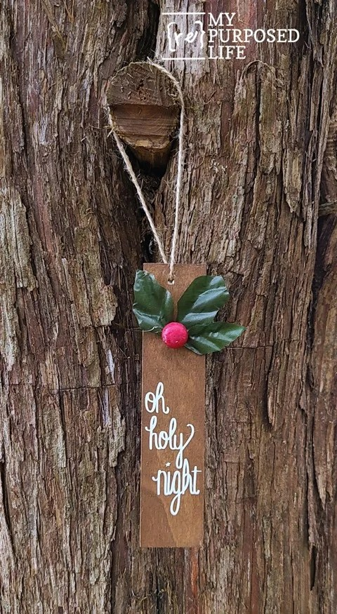 scrap wood ornament Oh Holy Night MyRepurposedLife