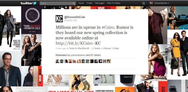 Kenneth Cole's innappropriate Tweet during crisis in Egypt