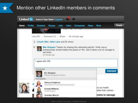 New LinkedIn Mentions Feature