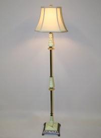 Vintage Art Deco Floor Lamp w/ Green Glass Accents, c. 1930