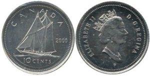 2000P 10 cents dime
