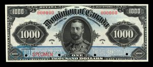 1911 Dominion of Canada Thousand Dollar Bill