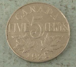 1925 5 cents top 10 rare Canadian Nickels
