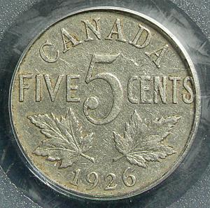 1926 far 6 top 10 rare Canadian nickels