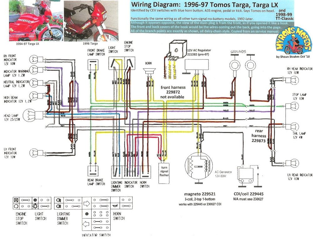 medium resolution of tomos wiring diagrams myrons mopeds 2005 tomos moped wiring diagram