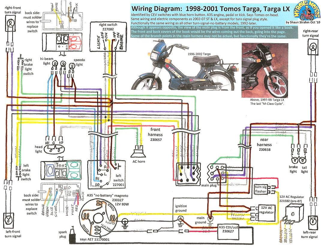 4 Wire Atv Voltage Regulator Wiring Diagram Tomos Wiring Diagrams 171 Myrons Mopeds
