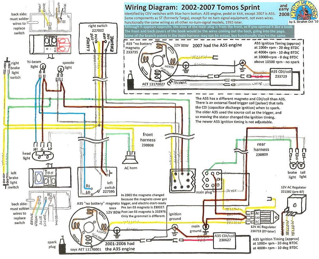 110 Atv Wiring Harness Key Dash Tomos Wiring Diagrams 171 Myrons Mopeds