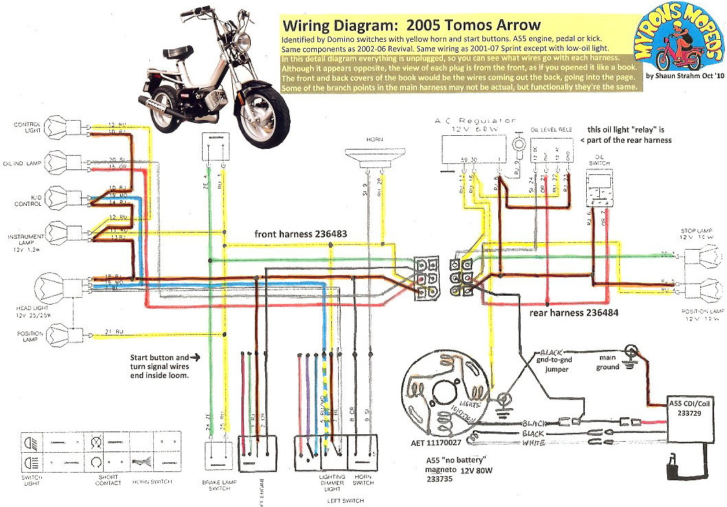 taotao 50 wiring diagram 2001 pontiac grand am headlight new tomos electrical « myrons mopeds