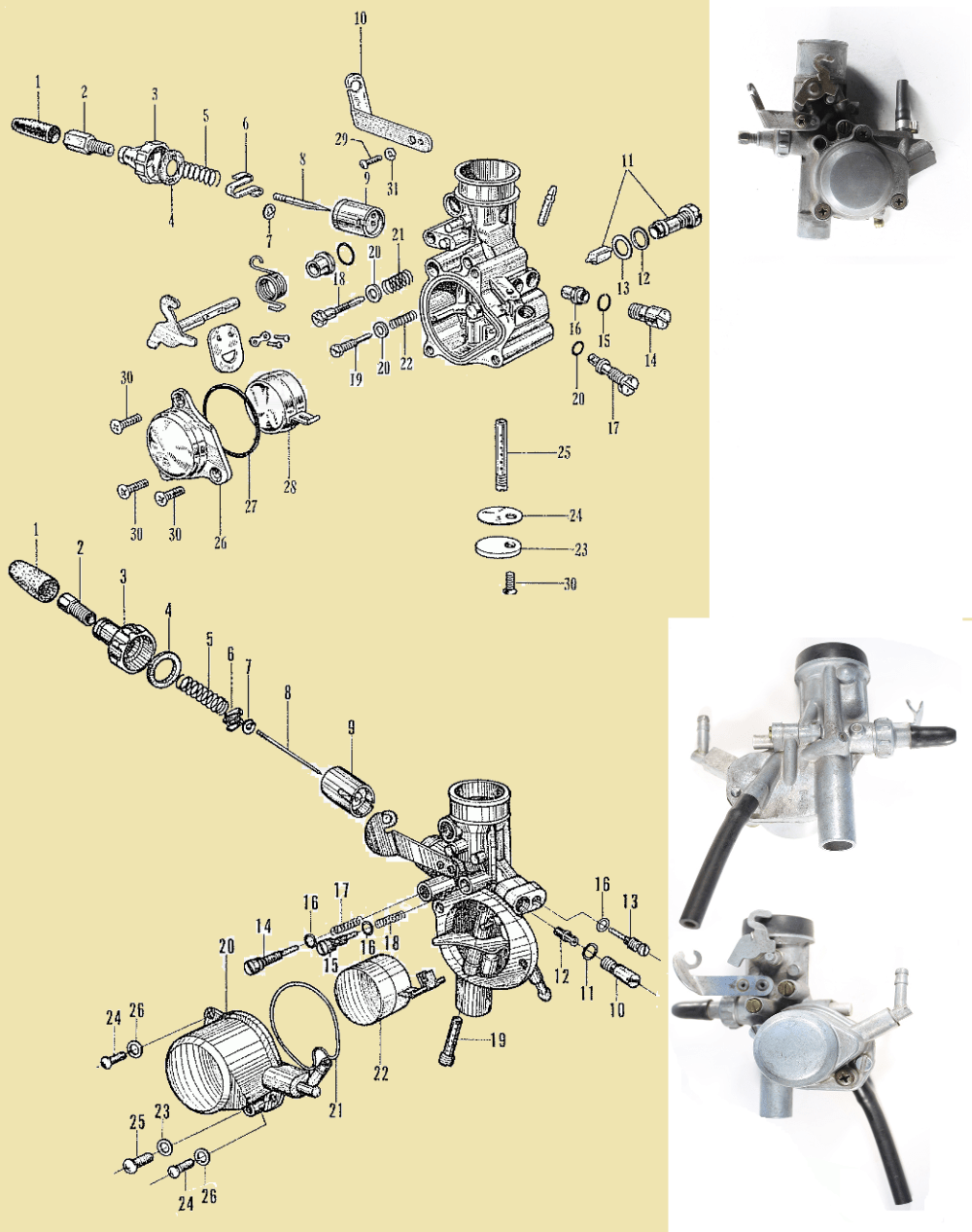 medium resolution of honda p50 carburetors top 50a bottom 50b