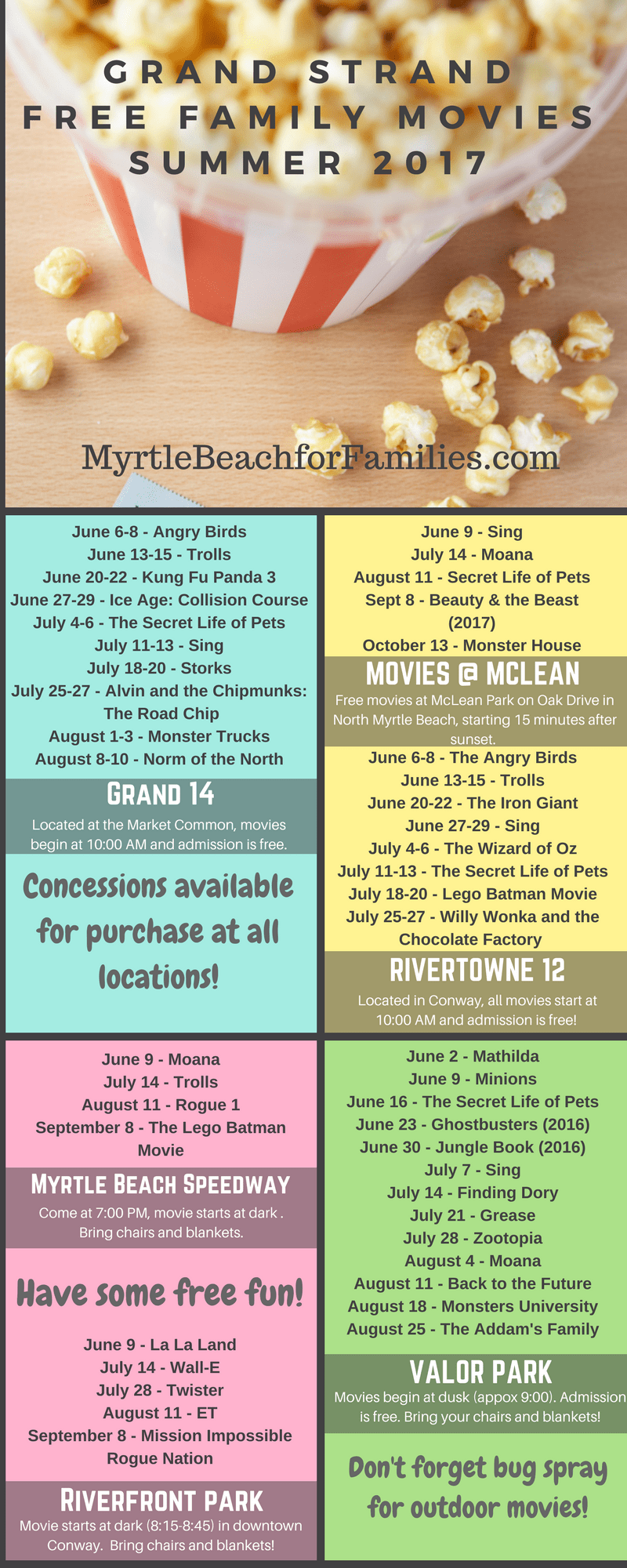 free summer movies, free movies for kids, myrtle beach, conway, north myrtle beach, movies under the stars