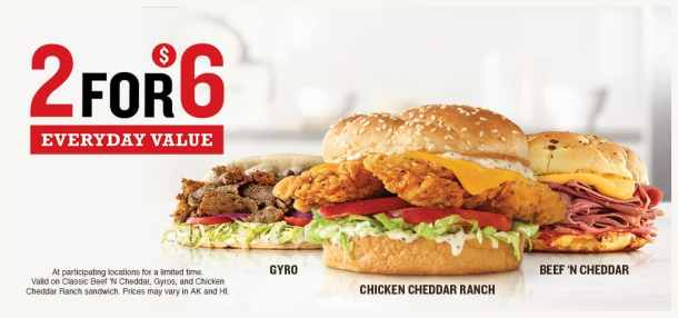 Arby's 2 for $6