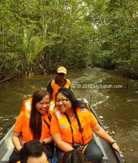 enjoying river cruise