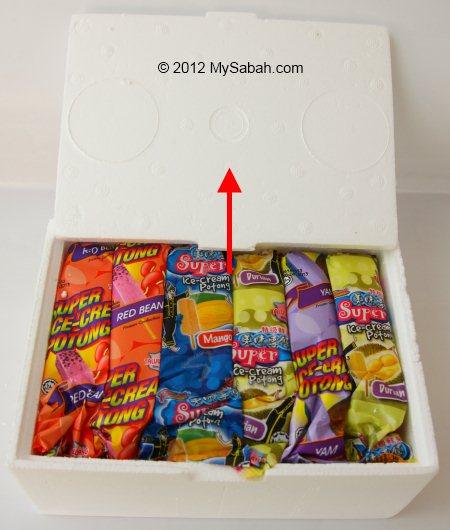 opening box of Sabah ice-cream