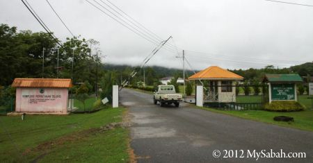 gate to Telupid Forestry Department and accommodation