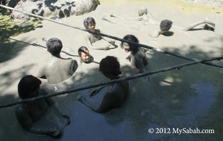family in mud volcano
