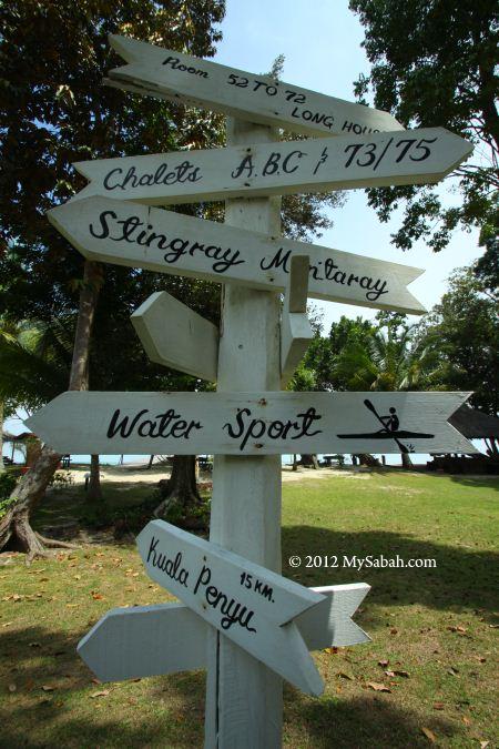 signage of Pulau Tiga Resort