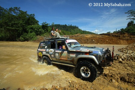 crossing Imbak River