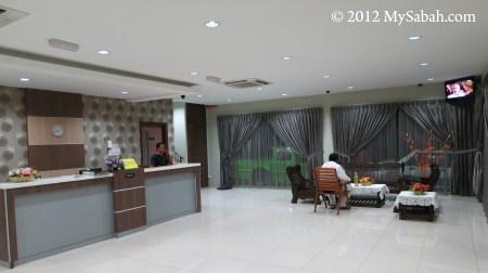 reception counter of Mostyn Hotel