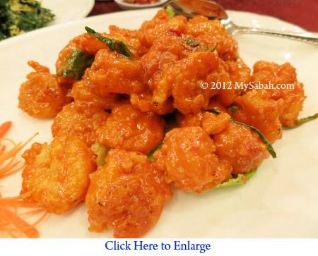 Fried prawn with salted egg yolk