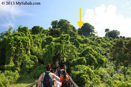 walking to the top of Bukit Tengkorak