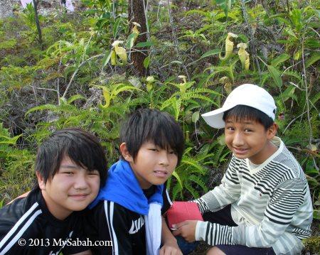children with pitcher plant