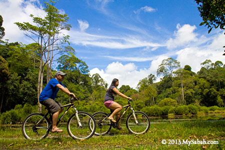 cycling next to Pandan Lake
