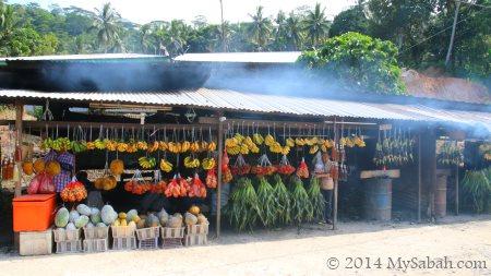 fruit and vegetables for sale at roadside