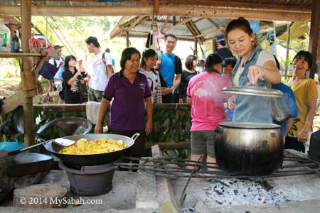 villagers cooking food
