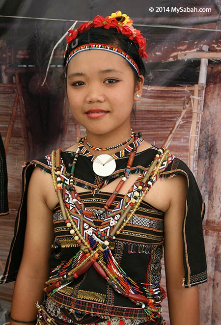 Rungus girl in traditional costume