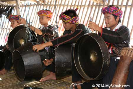Rungus boys beating gong