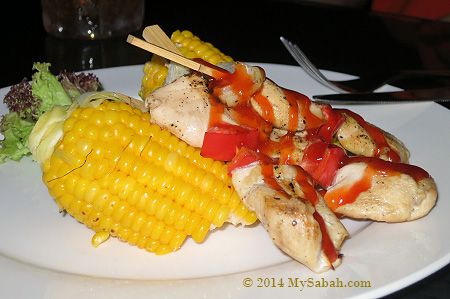 grilled corn and chicken