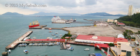 view of Sabah Port and Jesselton Point from Sky Blu Bar