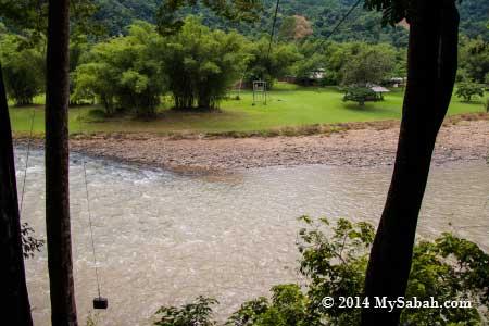 zipline platform and river