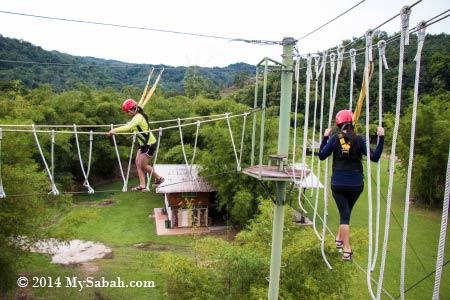 high ropes challenge: Spaghetti Walk and Burma Bridge