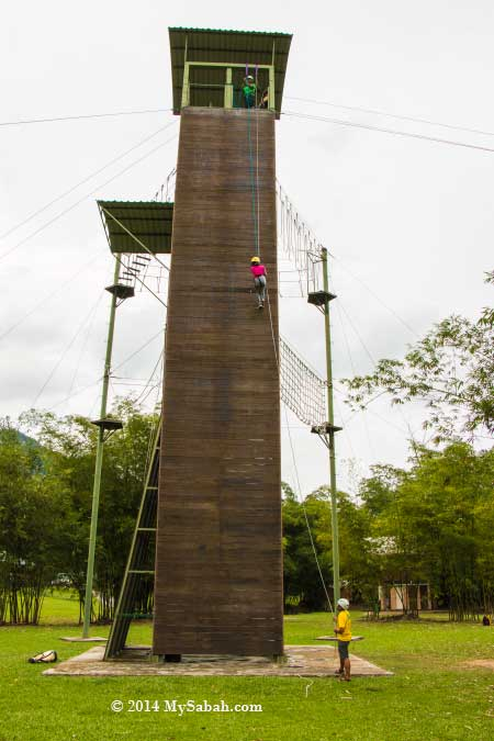 tower for zipline and climbing