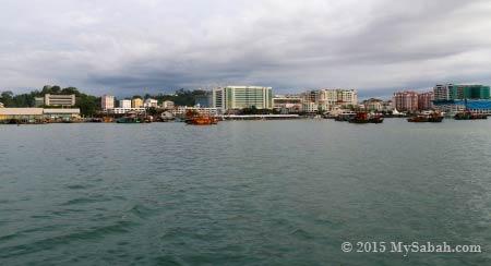 view of Kota Kinabalu city from the sea