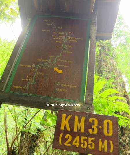 distance marker along the trail