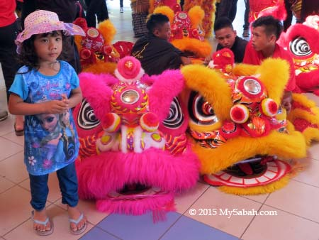 girl taking photo with lion heads
