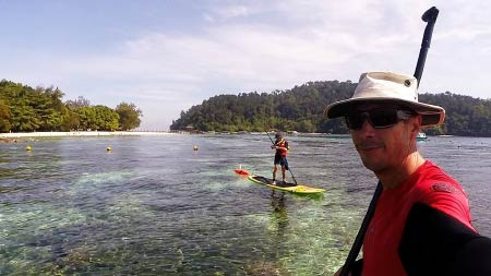 taking photo on Paddle Board