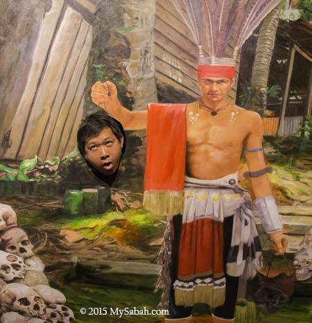 Murut headhunter photo booth in 3D Wonders Museum