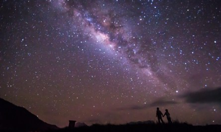 stargazing couple under the starry sky