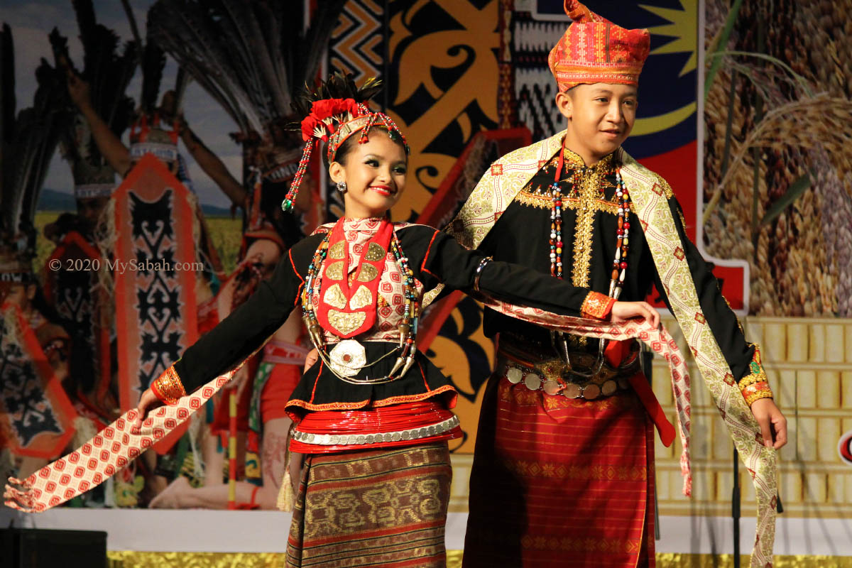 Dusun Lotud couple in ceremonial attire