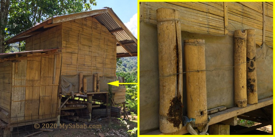 Old-fashioned stingless bee houses in village