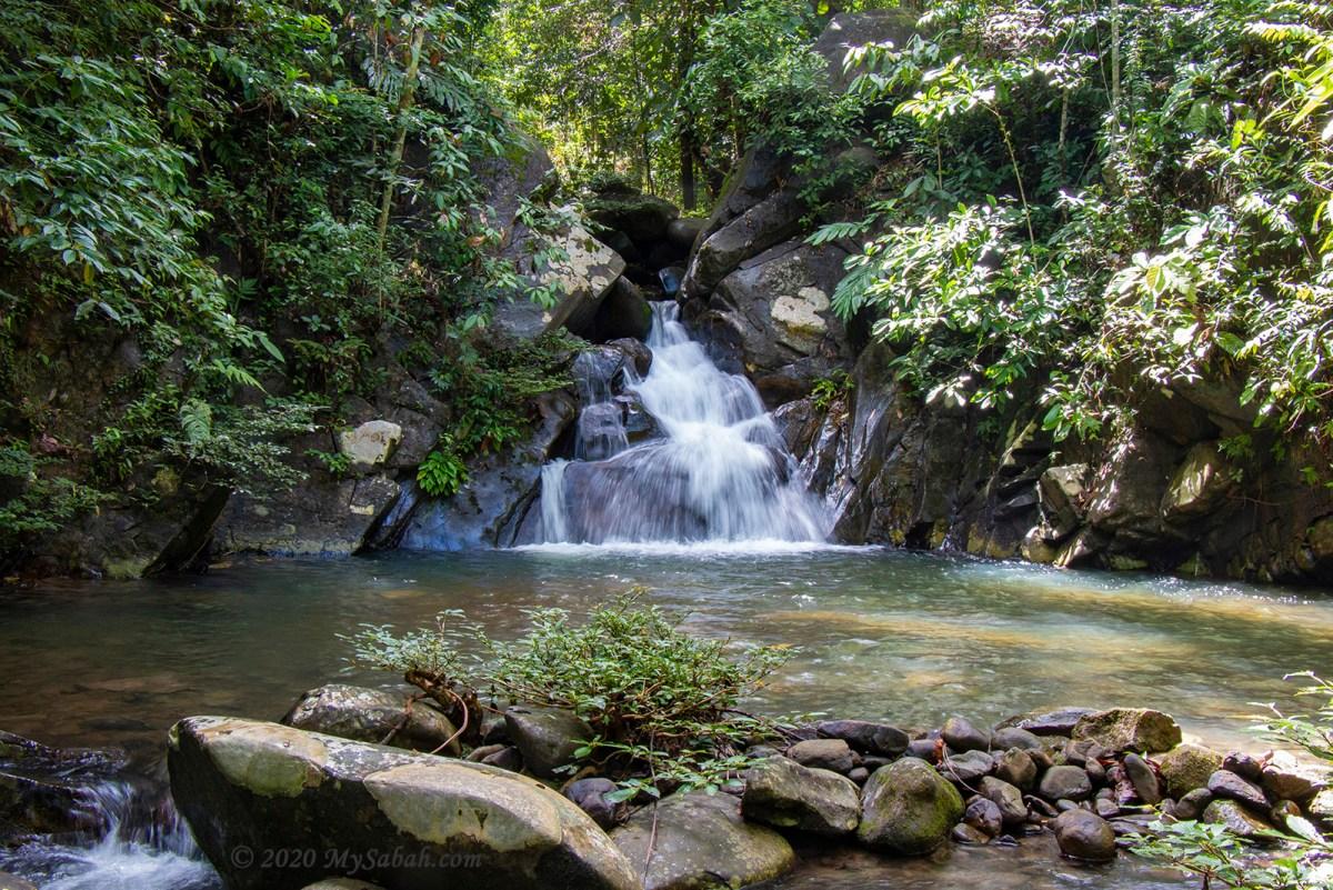 First waterfall (Telupid Waterfall) in Maranggoi river trail