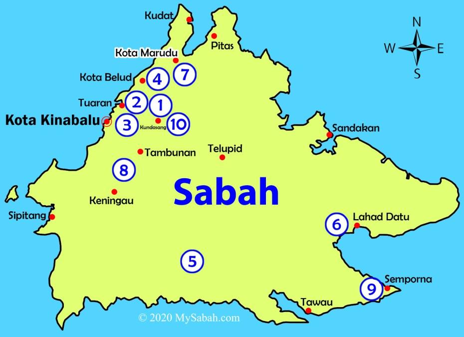 Location map of Mount Kinabalu, Bukit Perahu, Bukit Kokol, Bukit Bongol, Batu Punggul, Mount Silam, Mount Nombuyukong, Bukit Lugas, Bukit Tengkorak, and Maragang Hill
