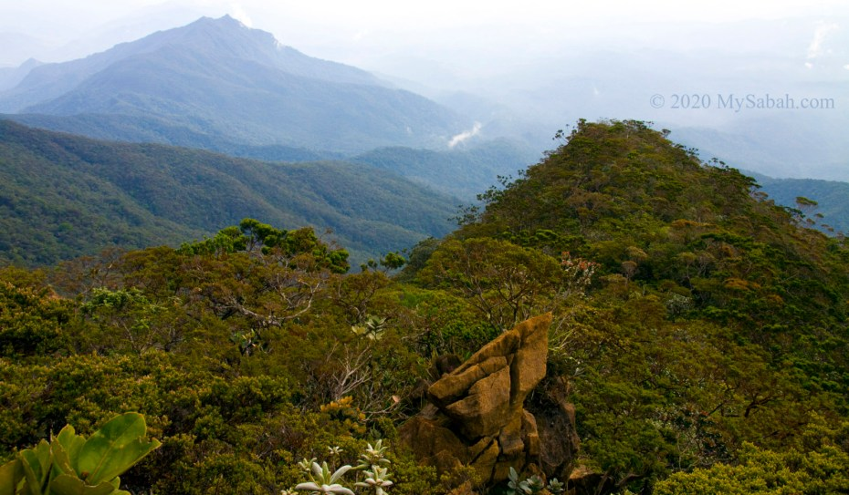 Mountain range of Mount Tambuyukon, the third highest mountain of Malaysia